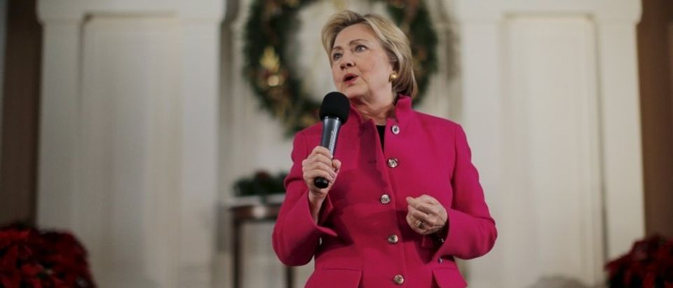 Democratic presidential candidate Hillary Clinton speaks at a campaign town hall meeting at South Church in Portsmouth, New Hampshire