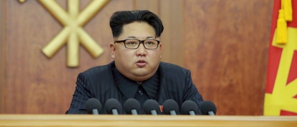 File photo of North Korean leader Kim Jong Un giving a New Year's address for 2016 in Pyongyang
