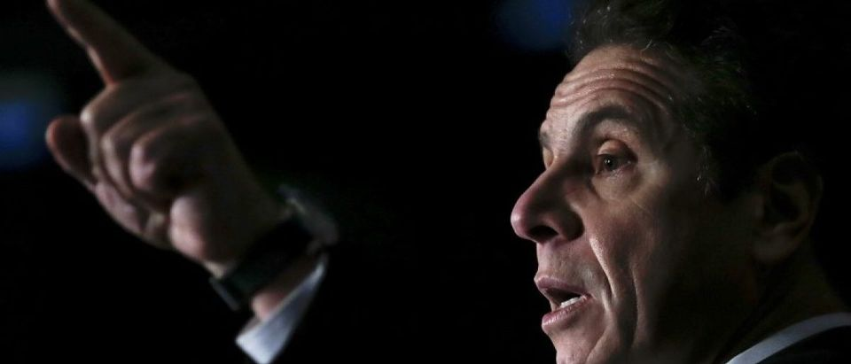New York Governor Andrew Cuomo speaks at a press conference to announce major transportation initiatives in the Manhattan borough of New York, January 6, 2016. REUTERS/Carlo Allegri