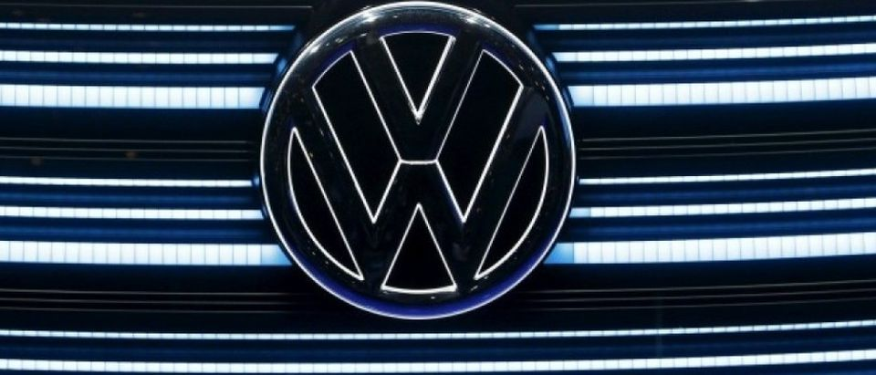 The Volkswagen emblem is shown on the grill of Volkswagen's BUDD-e electric vehicle during a keynote address at the 2016 CES trade show in Las Vegas