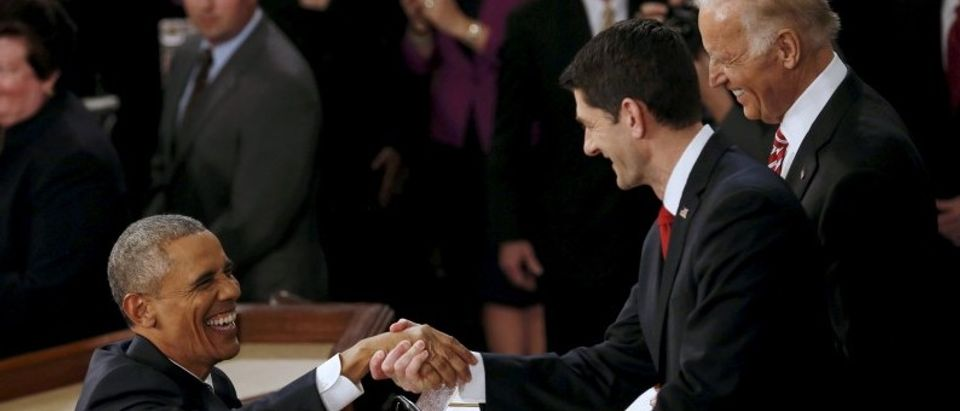 U.S. President Obama is greeted by Speaker of the House Ryan as he arrives to deliver his State of the Union address to a joint session of Congress in Washington