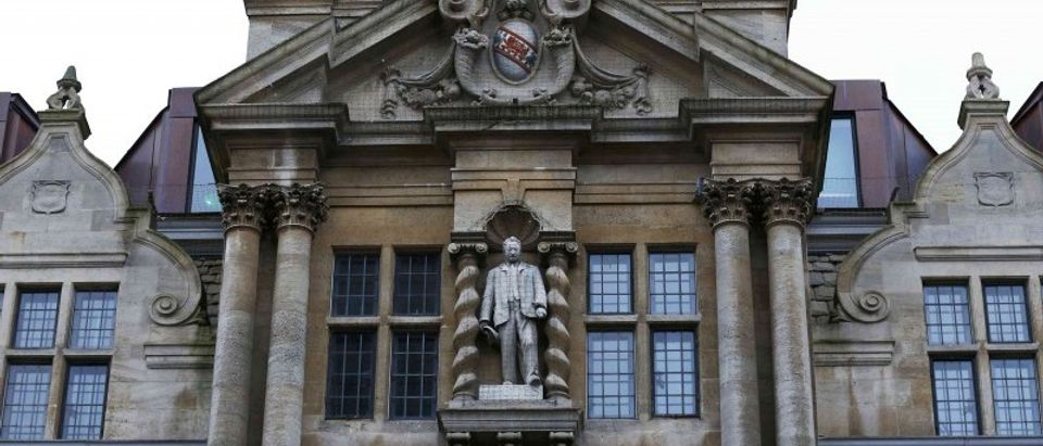 File photograph of the statue of Cecil Rhodes on the facade of Oriel College in Oxford