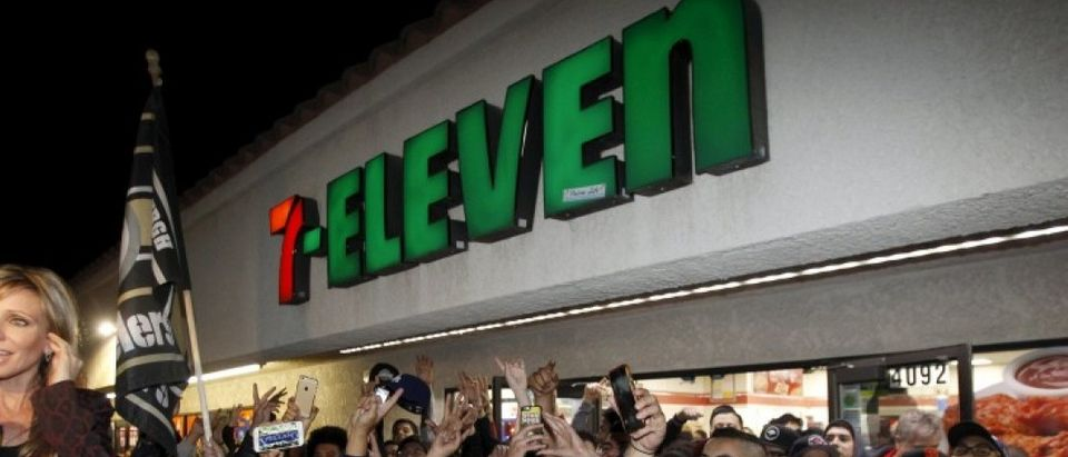 The 7-11 store where a winning Powerball ticket was sold is seen in Chino Hills, California