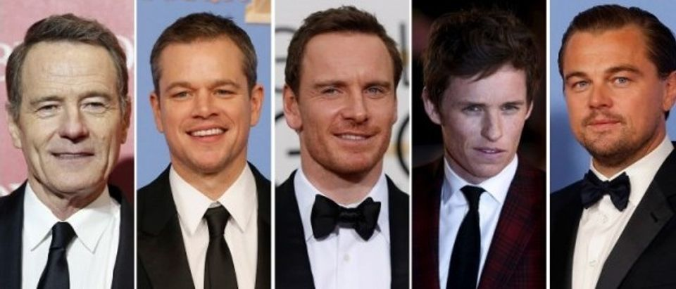 Oscar nominees for Best Actor are shown in this combination of file photos (L to R) Bryan Cranston, Matt Damon, Michael Fassbender, Eddie Redmayne, and Leonardo DiCaprio.