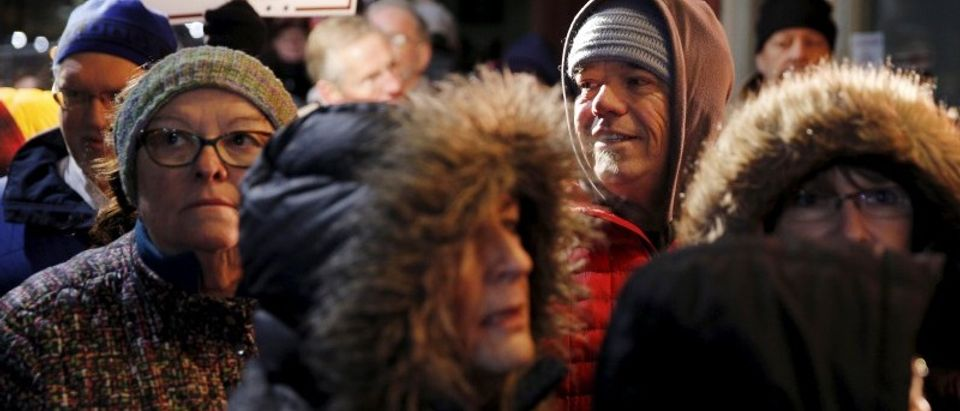 A crowd waits in line in hopes of seeing Republican U.S. presidential candidate Donald Trump during an appearance on MSNBC's Morning Joe cable television show at Java Joe's CoffeeHouse in Des Moines, Iowa