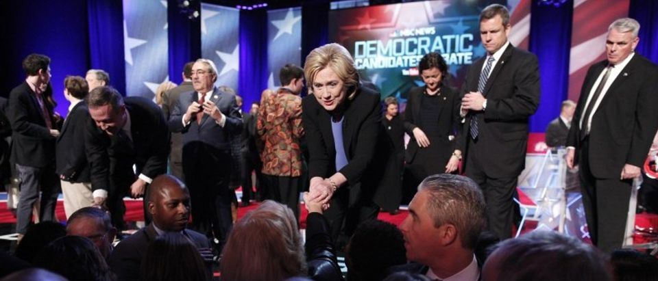 Democratic U.S. presidential candidates fomer Governor Martin O'Malley and former Secretary of State Hillary Clinton shake hands with the audience after the NBC News - YouTube Democratic presidential candidates debate in Charleston
