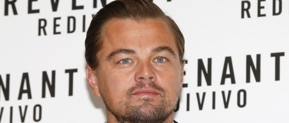 """Cast member Leonardo DiCaprio poses during a photo call for the movie """"The Revenant"""" in Rome"""