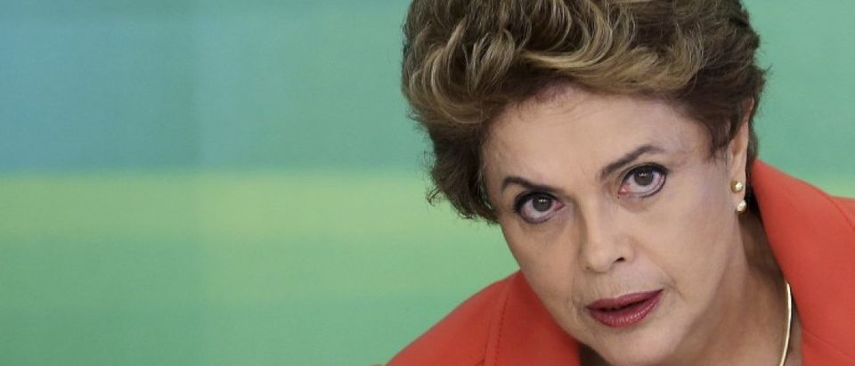 Brazil's President Dilma Rousseff attends a breakfast with journalists at the Planalto Palace in Brasilia
