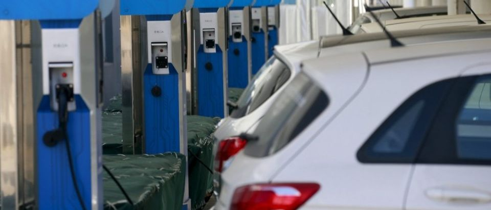 EV charging station is seen at a factory of Beijing Electric Vehicle, funded by BAIC Group, in Beijing