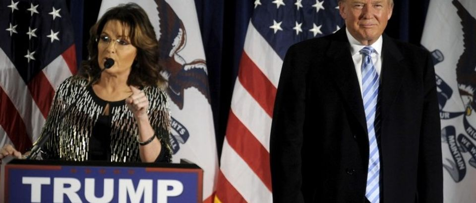 U.S. Republican presidential candidate Trump as Former Alaska Gov. Sarah Palin endorses him at a rally at Iowa State University in Ames, Iowa
