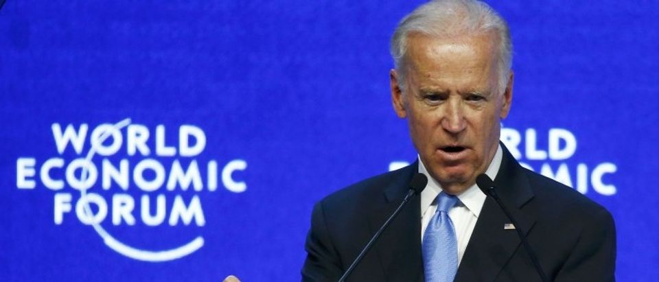 US Vice President Biden addresses the attendees during the Annual Meeting of the WEF in Davos