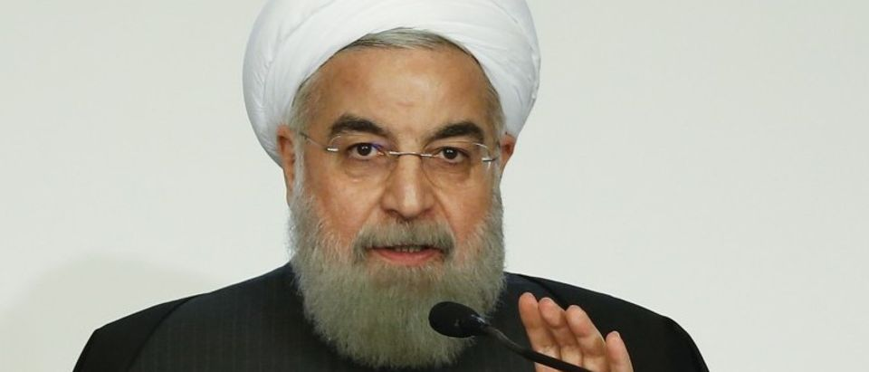 Iran President Hassan Rouhani talks during a business forum in Rome