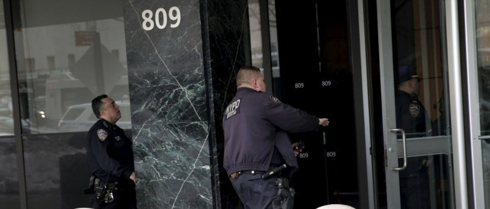 New York City Police Department (NYPD) officers arrive at 809 First Avenue in the Manhattan borough of New York to investigate suspicious package