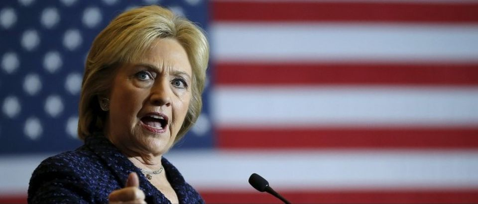 File photo of U.S. Democratic presidential candidate Hillary Clinton speaking at a campaign event in Indianola