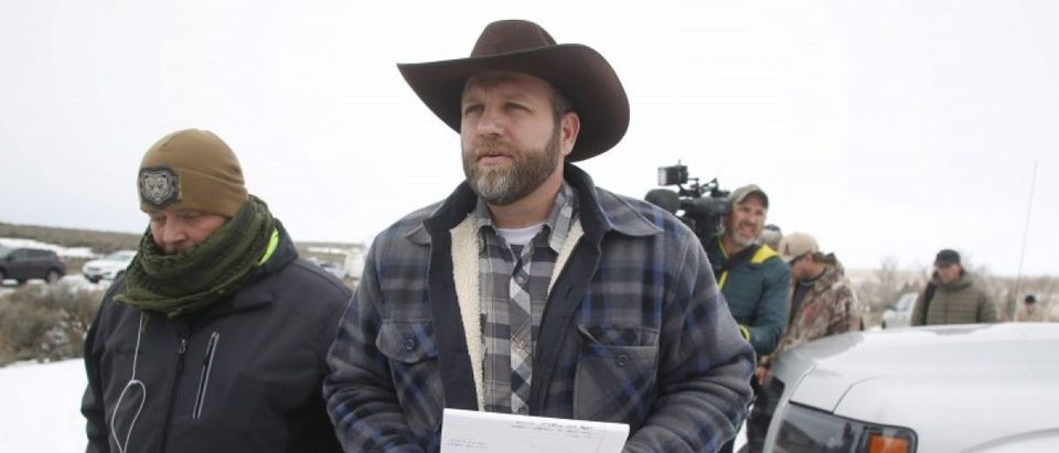 File photo of Ammon Bundy arriving to address the media at the Malheur National Wildlife Refuge near Burns Oregon