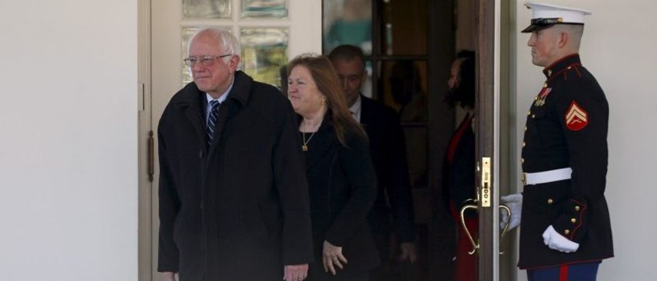 Democratic presidential candidate Bernie Sanders walks out from the West Wing of the White House to speak to reporters after his meeting with U.S. President Barack Obama in Washington