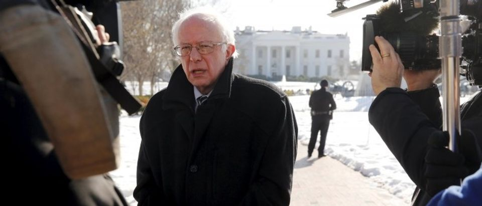 Sanders gives an interview to NBC News in Lafayette Square across from the White House in Washington
