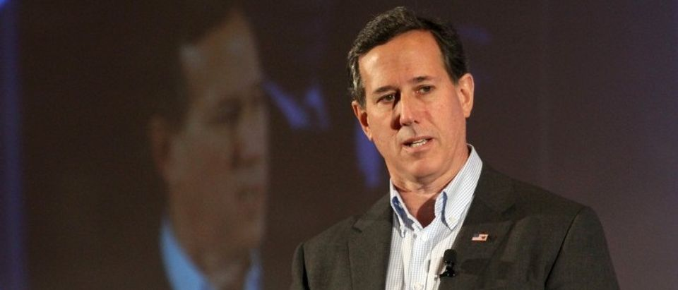 U.S. Republican presidential candidate Rick Santorum speaks at the New Hampshire GOP's FITN Presidential town hall in Nashua.