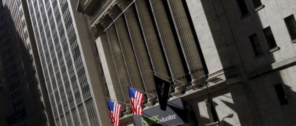 The New York Stock Exchange building is seen from Wall Street in Lower Manhattan in New York