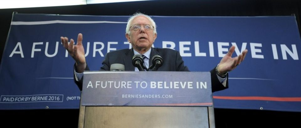 Democratic presidential candidate Bernie Sanders speaks at a campaign rally in Manchester, Iowa