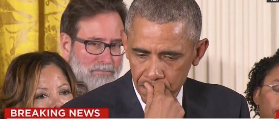 President Barack Obama cries while talking about gun control. (Photo: YouTube screen grab)