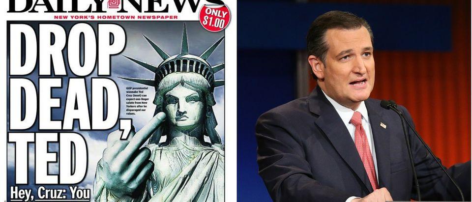 NY Daily News Tells Cruz To 'Drop Dead' [Images via NY Daily News Getty]