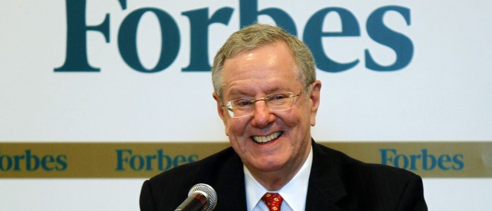 Forbes Media Chairman and Editor-in-Chief Steve Forbes speaks during a news conference before the Forbes Global CEO Conference in Kuala Lumpur