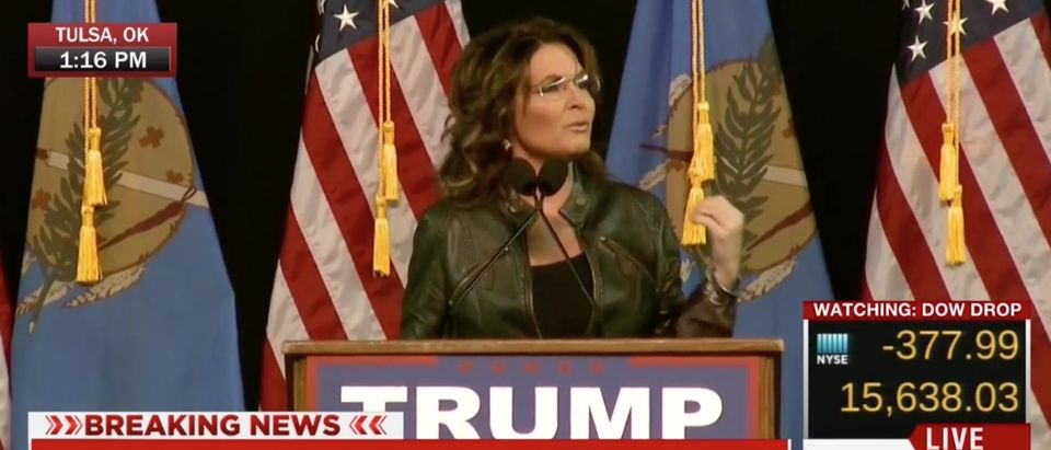 Sarah Palin Address Son's Arrest And Blames Obama For Not Respecting Soldiers [screen shot MSNBC]