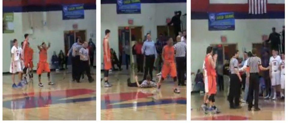 HS Basketball Coach Gets His Money's Worth, Headbutts Referee (screenshots: livestream)