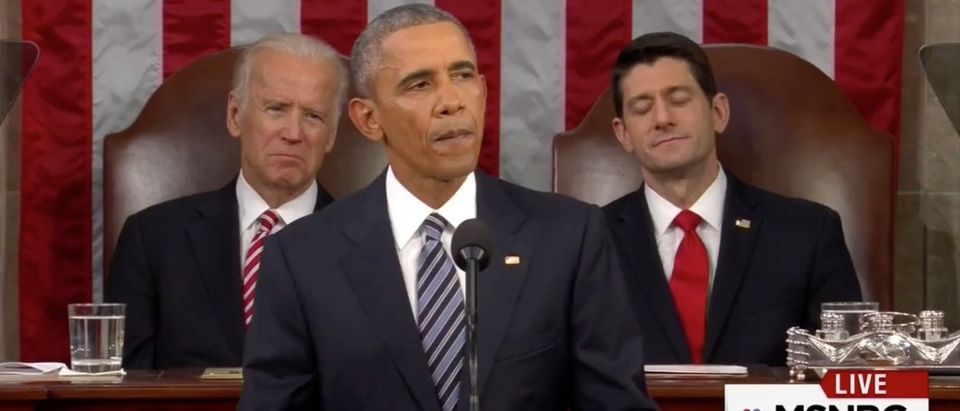 Obama's SOTU: 'Anyone Claiming That America's Economy Is In Decline Is Peddling Fiction' (screenshot: MSNBC)
