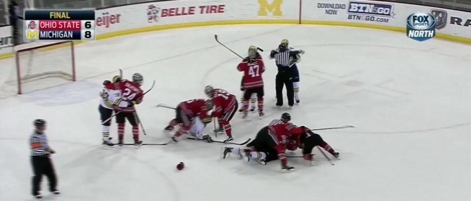Michigan Hockey (Credit: Screenshot/Twitter The Cauldron Video)