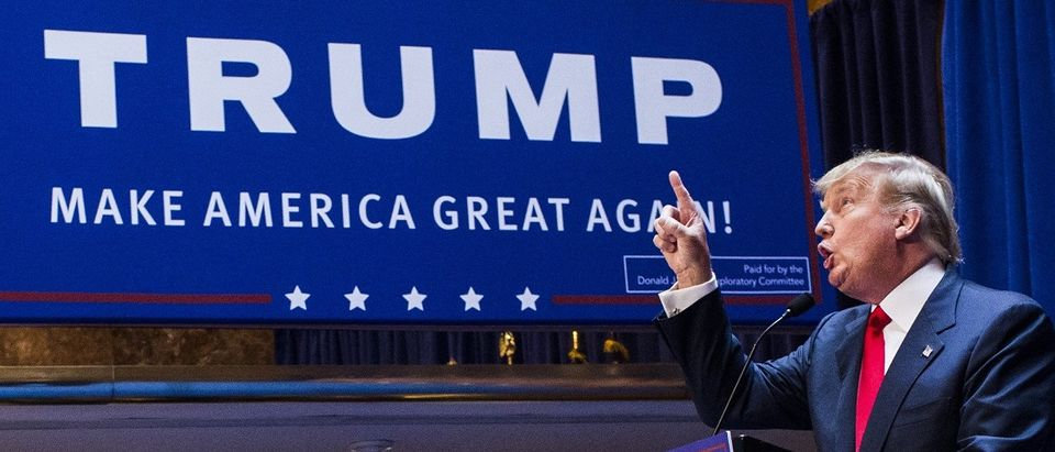 Donald Trump announcing that he is running for president. (Christopher Gregory/Getty Images)