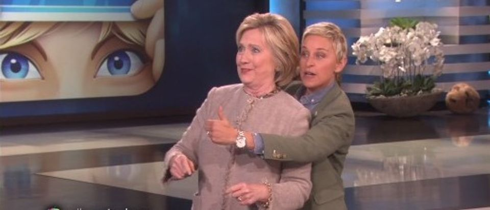 Watch Hillary Attempt To Connect To The Youth by Playing 'Heads Up!' On 'Ellen' [Screen shot EllenTube]