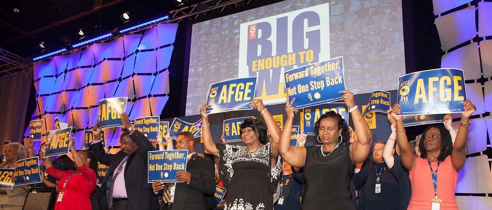 "American Federation of Government Employees display ""Big Enough to Win"" signs by AFGE Flickr Creative Commons"
