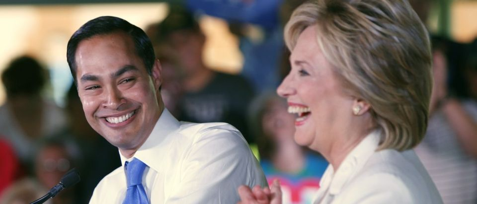 Julian Castro and Hillary Clinton on October 15, 2015 in San Antonio, Texas. Photo: Erich Schlegel/Getty Images.