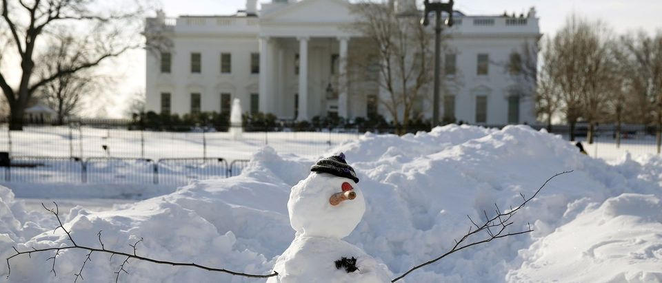 A snowman in front of the White House in Washington
