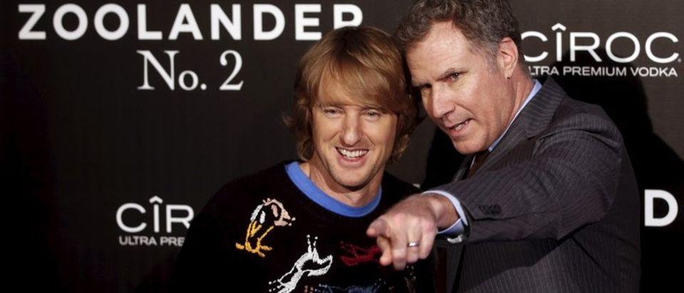 """Actors Owen Wilson and Will Farrell pose during a photo call before the fans screening of their latest film """"Zoolander 2"""" in central Madrid"""