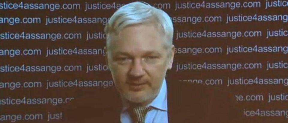 WikiLeaks founder Julian Assange speaks in this still frame taken from video, from the Ecuadorian embassy in London, Britain