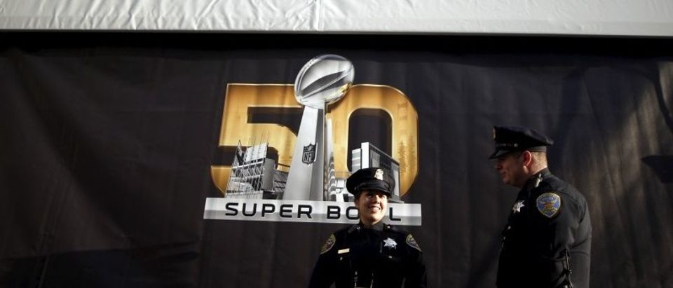 Police patrol downtown San Francisco before NFL Super Bowl 50 in San Francisco