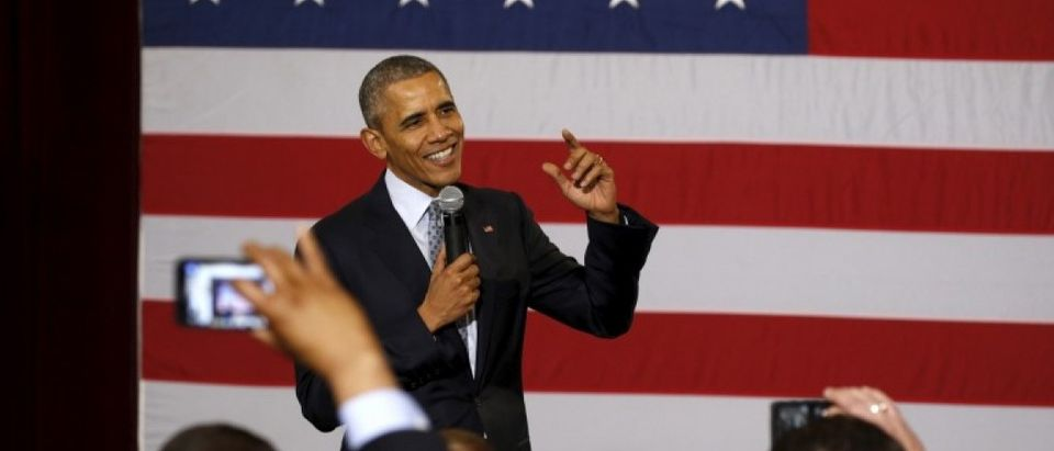 U.S. President Obama speaks to supporters and volunteers during his visit to Springfield