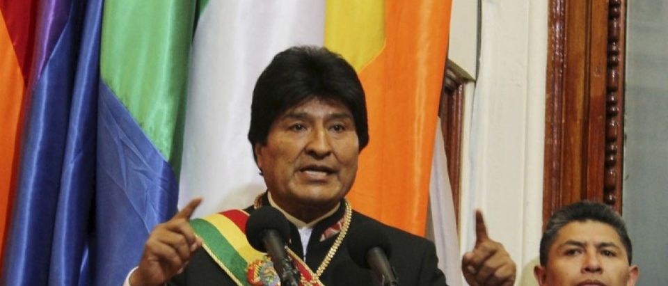 Bolivia's President Evo Morales speaks during a ceremony to mark 10 years of his administration during a session of congress in La Paz
