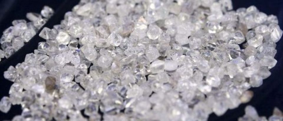 File picture shows diamonds during an exhibition in Gaborone