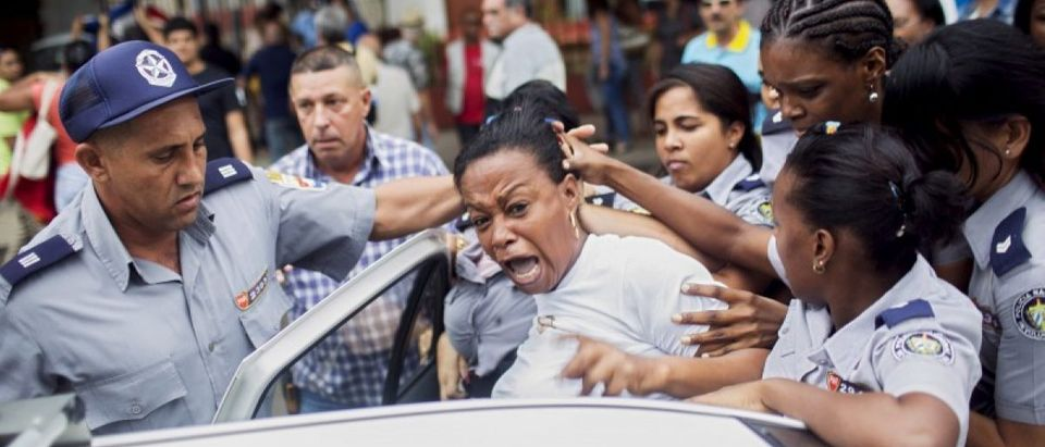Cuban security personnel detain a member of the Ladies in White dissident group during a protest on International Human Rights Day, Havana