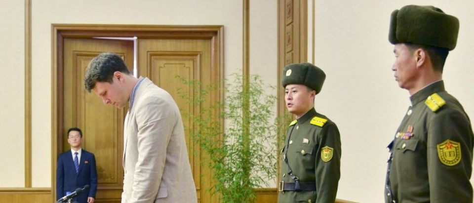Otto Warmbier, a University of Virginia student who has been detained in North Korea since early January, attends a new conference in Pyongyang, North Korea