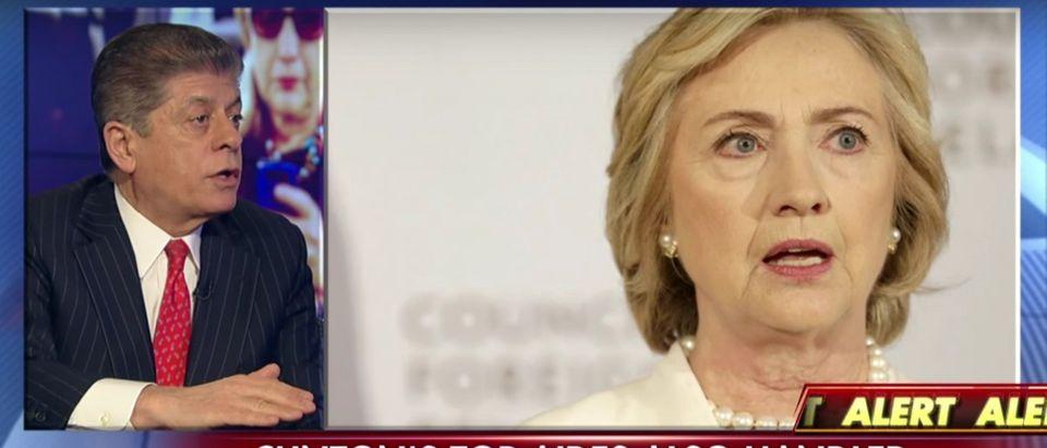 Andrew Napolitano, Hillary Clinton, Screen shot Fox News