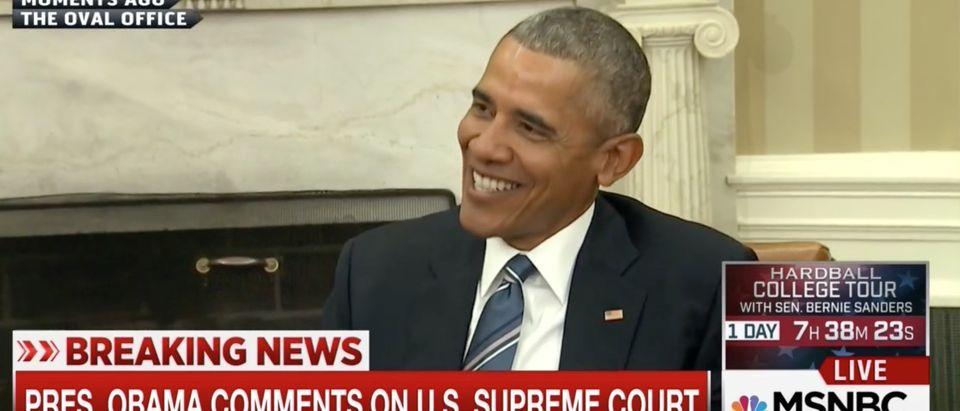 Barack Obama, screen shot MSNBC 2-23-2016
