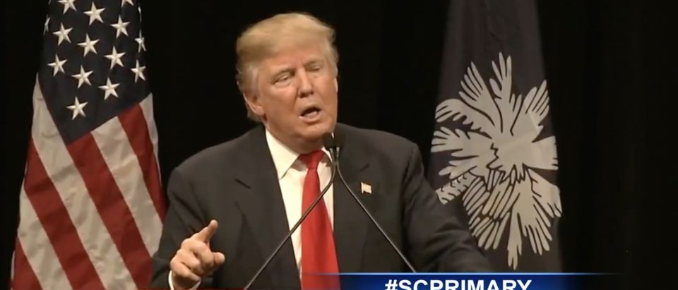 Donald Trump, Myrtle Beach, South Carolina campaign rally, screen shot YouTube