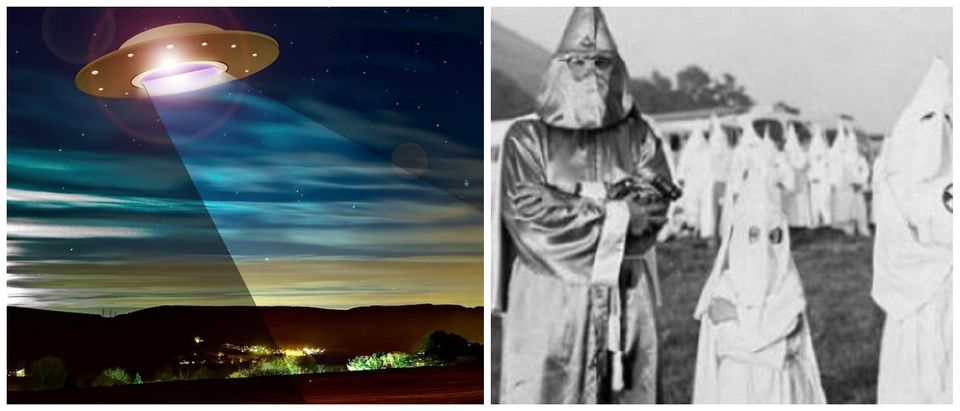 Aliens and The KKK (Source: Creative Commons Pixabay.com: User photovision/Creative Commons; https://en.wikipedia.org/wiki/Ku_Klux_Klan#/media/File:Children_with_Dr._Samuel_Green,_Ku_Klux_Klan_Grand_Dragon,_July_24,_1948.jpg)
