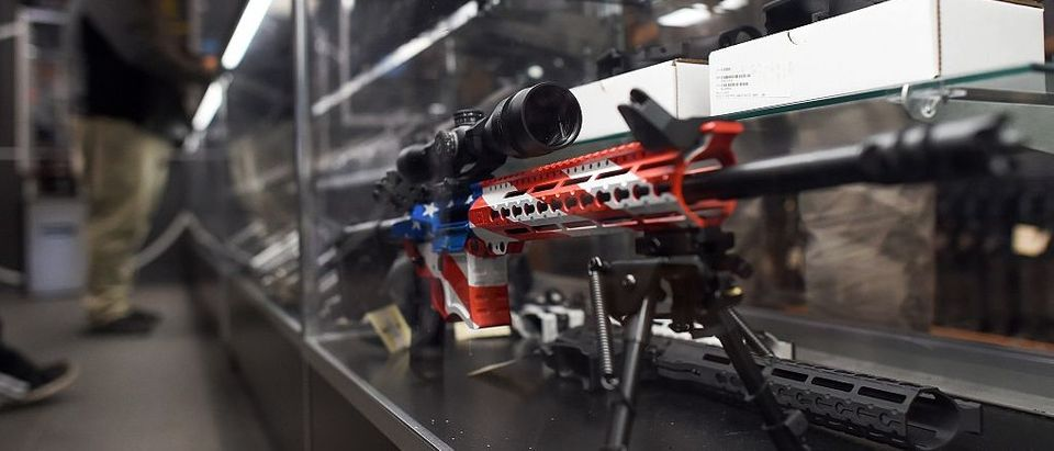 A rifle with a gunskin in the colors of the US flag is seen at the RTSP shooting range in Randolph, New Jersey on December 9, 2015. (Photo credit: JEWEL SAMAD/AFP/Getty Images)