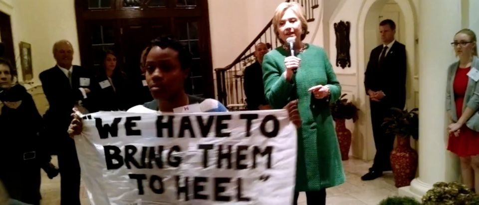 Hillary Clinton, Black Lives Matter protestor, Screen shot Youtube